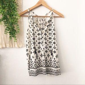 JOIE Boho Print Split Neck Silk Sleeveless Blouse